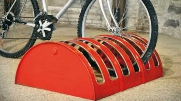 liquid drums turned into a bike rack