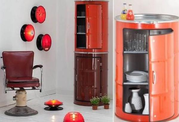 liquid drums turned into a cabinet