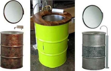 liquid drums turned into wash basins