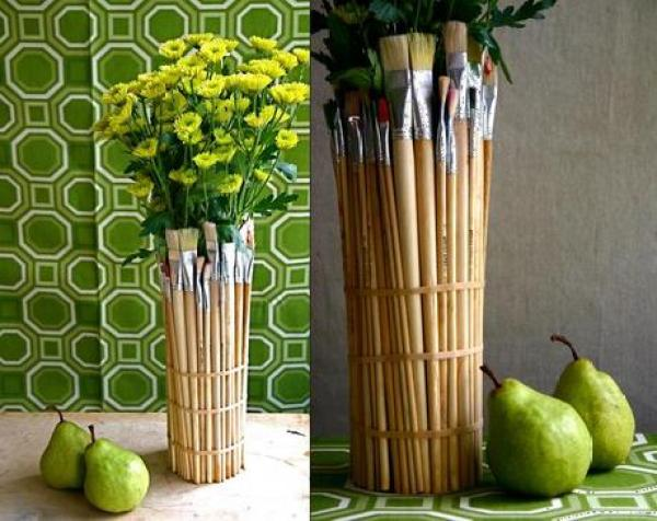 Recycled Paint Brushes Turned into Vase