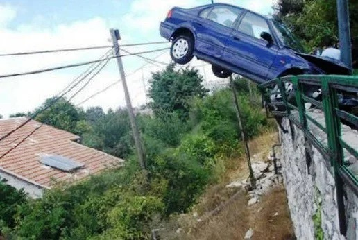 Car crash onto railings