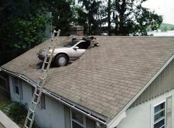 Car crash onto roof