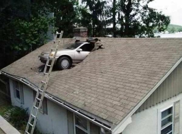 Car crash onto roof