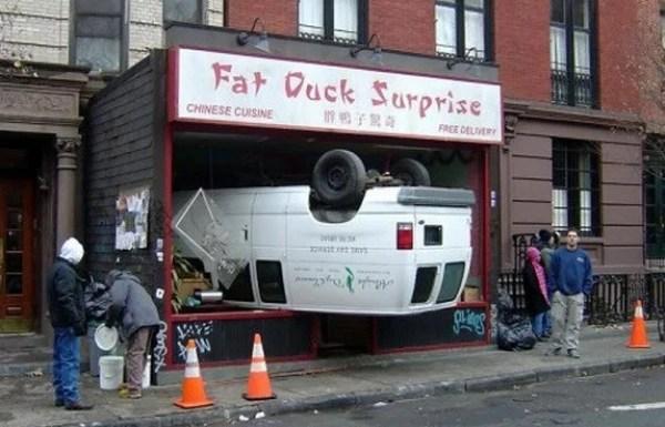 Car crash onto Shop