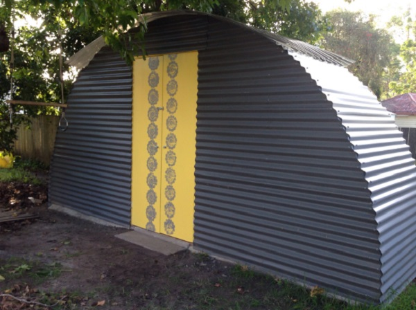 Trampoline Turned Into a Garden Shed