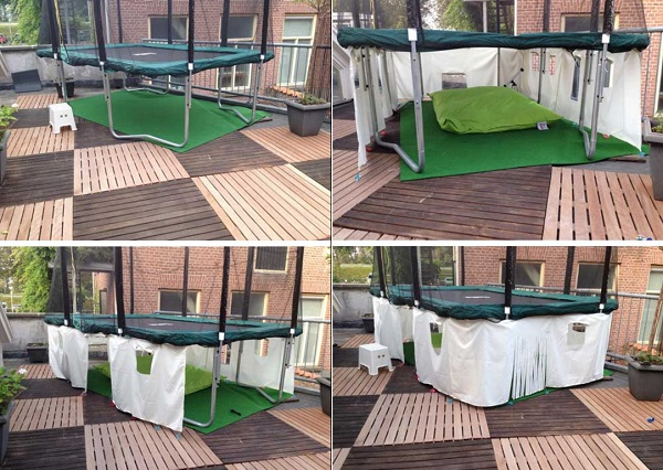 Trampoline Used to Make a Den