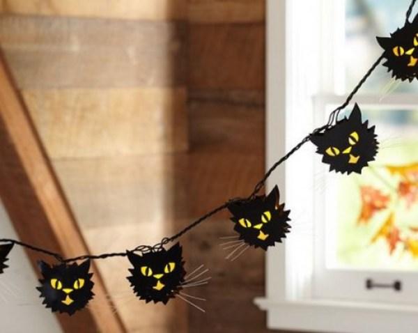 Black Cat Halloween String Lights