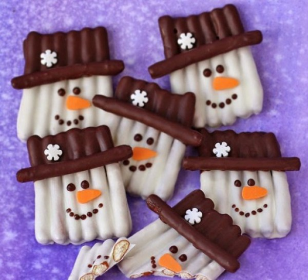 Chocolate Pretzel Snowmen