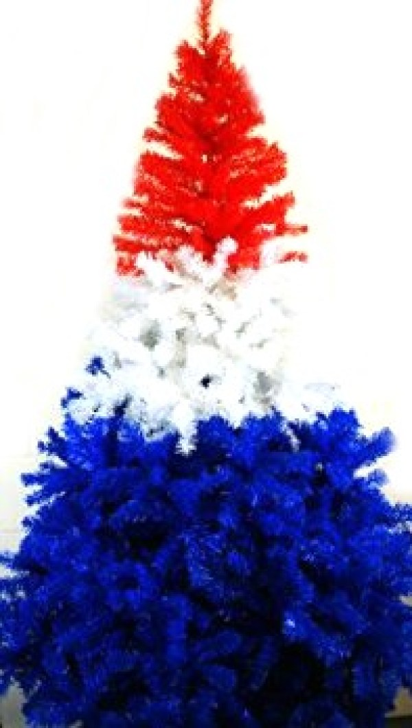 Red, White And Blue Coloured Christmas Tree