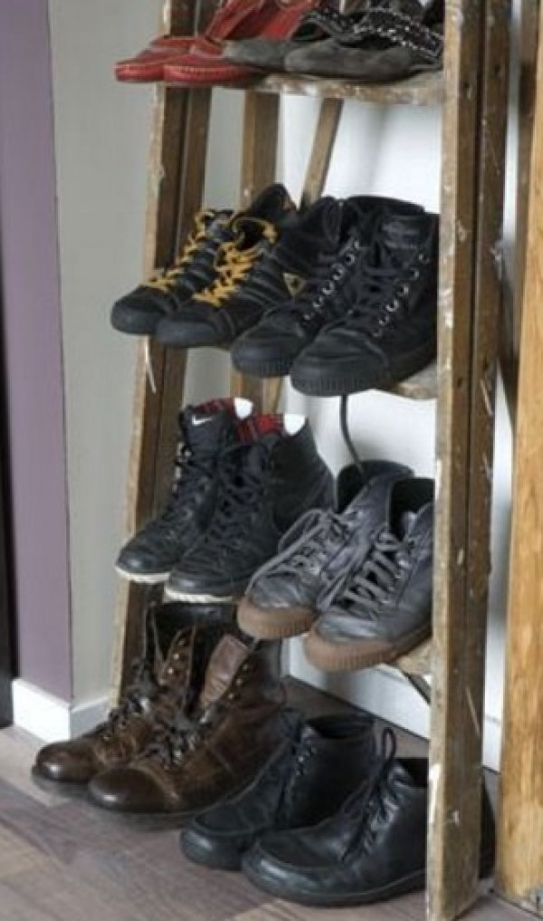 Ladder Recycled into a Shoe Rack
