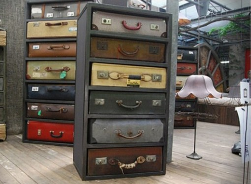 Suitcases Used To a Make a Chest of Drawers