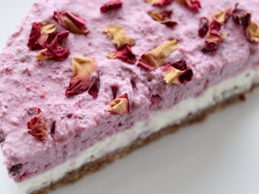 Raw Blackberry Cheesecake Topped With Rose Petals