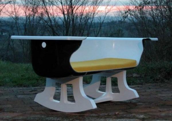 Bathtub Used To Make a Rocking Chair