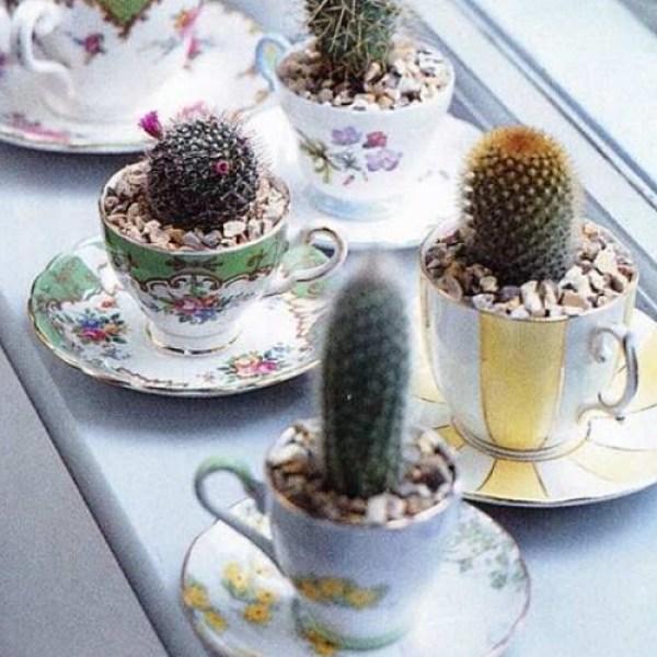 Old Mug Or Cup Used To Make Planters