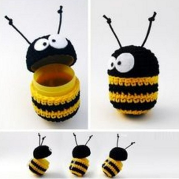 Crochet Bee Made From Kinder Surprise Containers