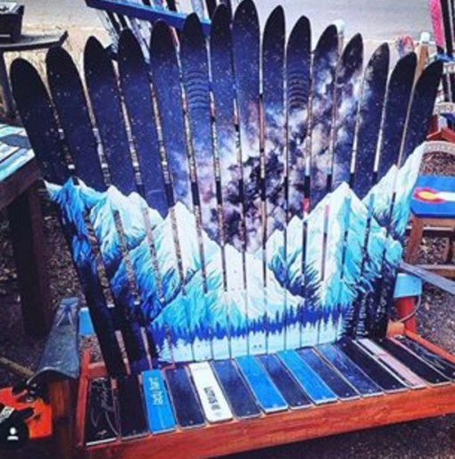 Snow Ski Transformed Into A Bench