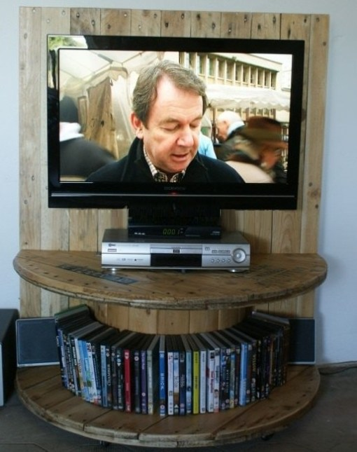 Wooden Cable Reel Used To Make a TV Stand