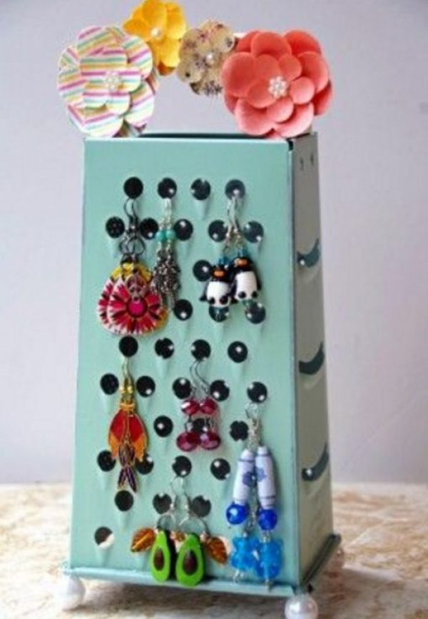 Cheese Grater Transformed Into a Earring Holder