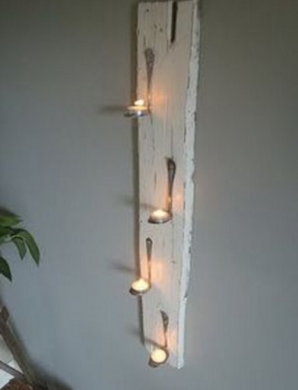 Cutlery Transformed Into Candle Holder