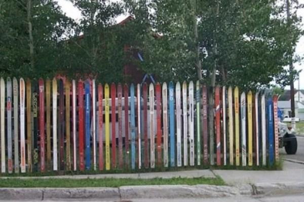 Snow Ski Transformed Into A Garden Fence