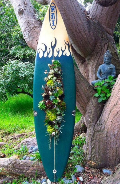 Surfboard Used To a Planter