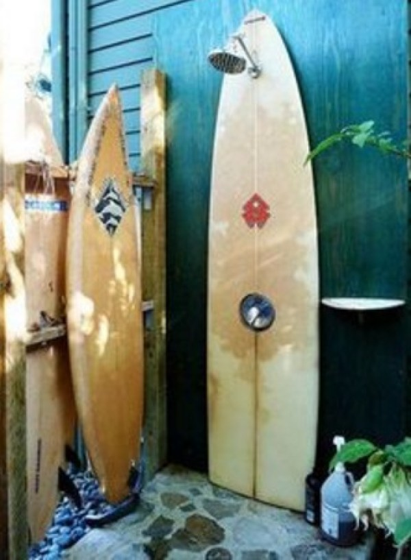 Surfboard Used To Make A Shower