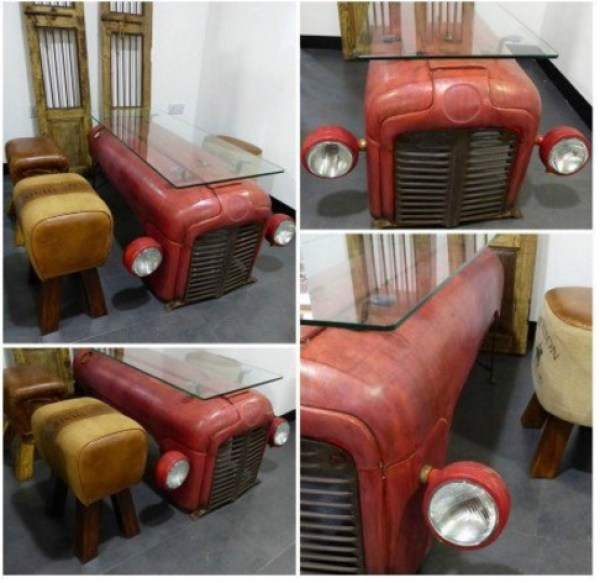 Tractor Transformed Into a Breakfast Table