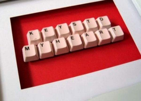 Computer Keyboard Keys Transformed Into a Valentines Gift