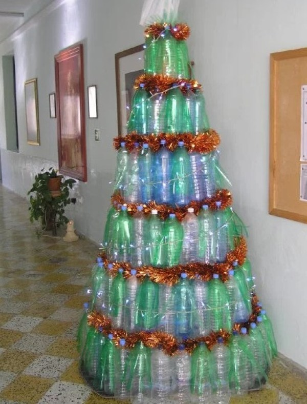 Empty Plastic Pop Bottle Transformed Into A Christmas Tree
