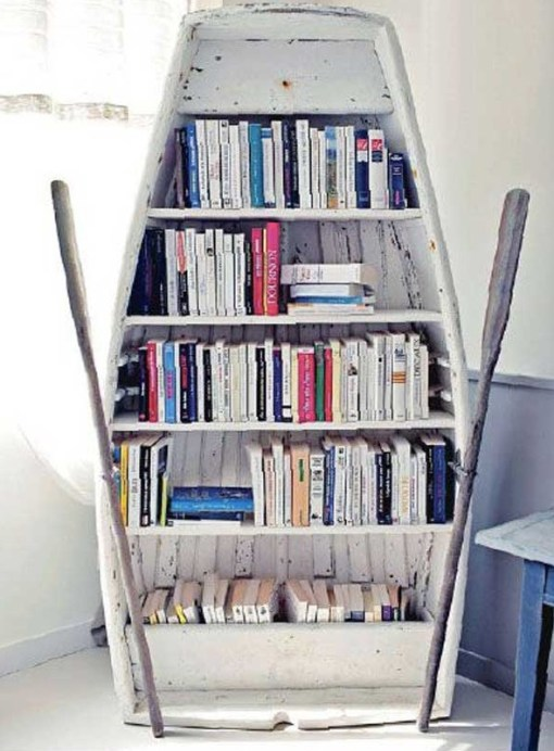 Rowing Boat Transformed Into a Book Shelf