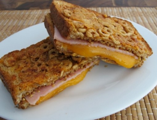 Cheerios Coated Grilled Cheese Sandwich