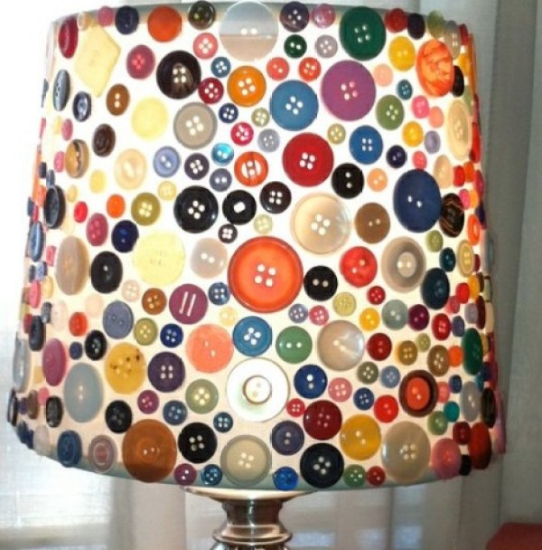 Clothes Buttons Recycled and Transformed Into a Lamp Shade