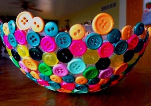 Clothes Buttons Recycled and Transformed Into a Bowl