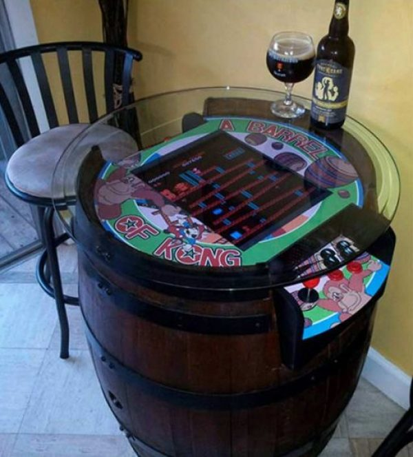 Wooden Barrel Transformed Into a Tabletop Arcade Machine