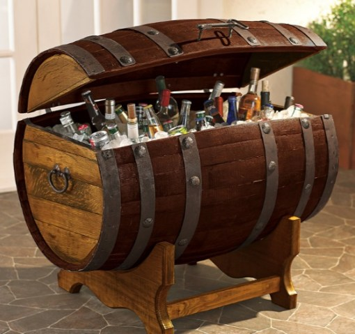 Wooden Barrel Transformed Into an Ice Cooler