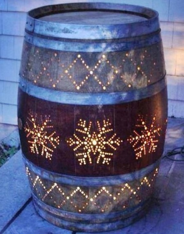 Wooden Barrel Transformed Into a Porch Light