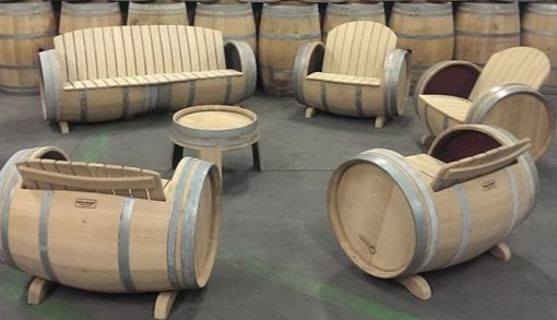 Wooden Barrel Transformed Into Furniture Set