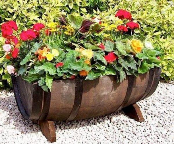Wooden Barrel Transformed Into a Planter
