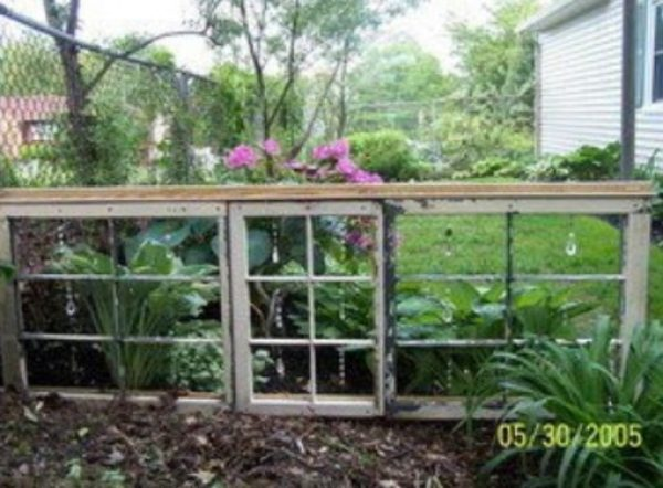 Old Windows Transformed Into a Garden Divider