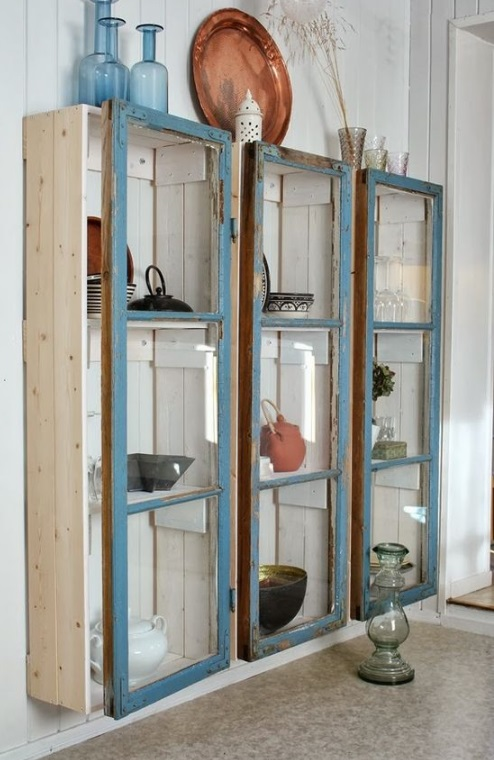Old Windows Transformed Into a Display Cabinet