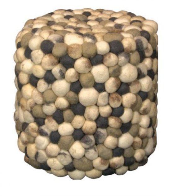 Pebble Boiled Wool Pouffe