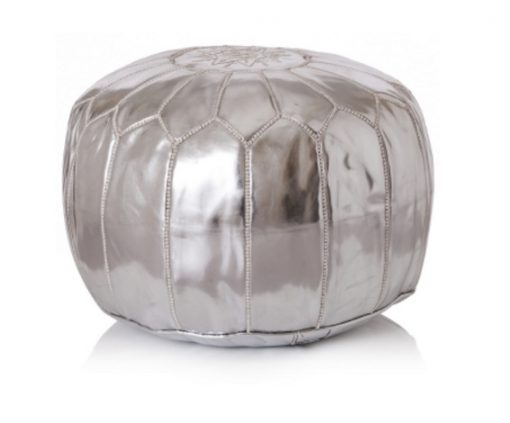 Silver Moroccan Leather Pouffe