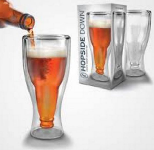 Updside Down Beer and Pint Glass