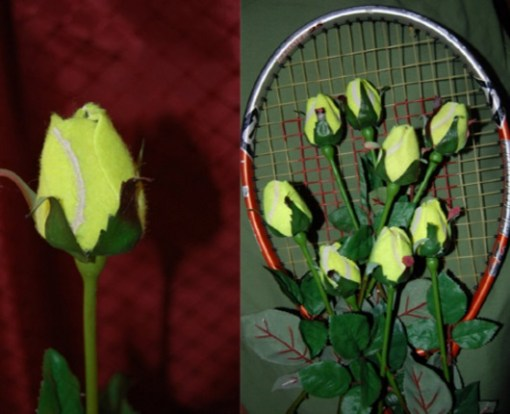 Tennis Balls Transformed Into Display Roses
