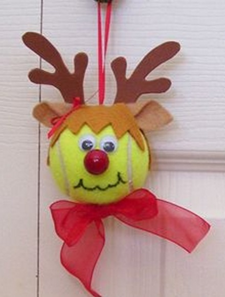 Tennis Balls Transformed Into Christmas Ornaments