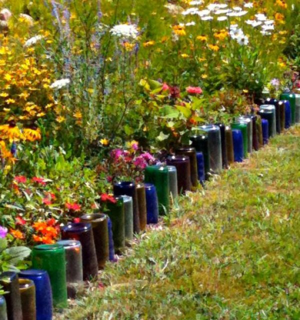 Glass Bottles Transformed Into Garden Edging