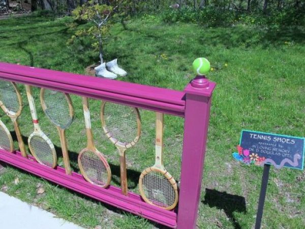 Sports Rackets Transformed Into a Fence