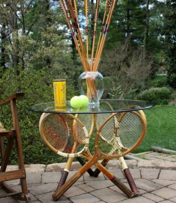 Sports Racket Transformed Into a Drinks Table