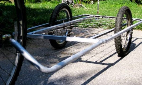 Bed Frame Used to Make Bicycle Trailer