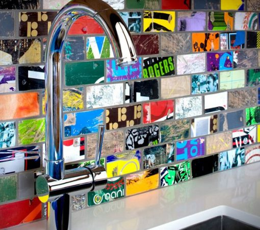 Kitchen Splash Back Made From Skate Boards